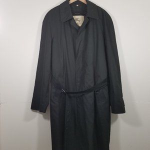 Burberry Trench Wool Black Coat Size 56